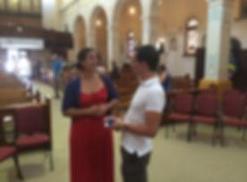 Carlo Talking to Parishioner at Sacred Heart