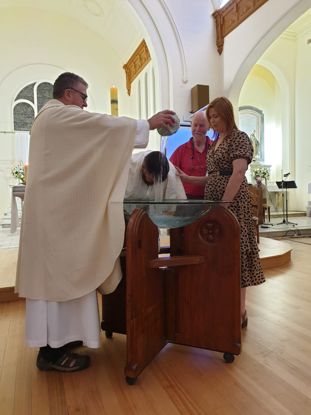 baptism of adult at font