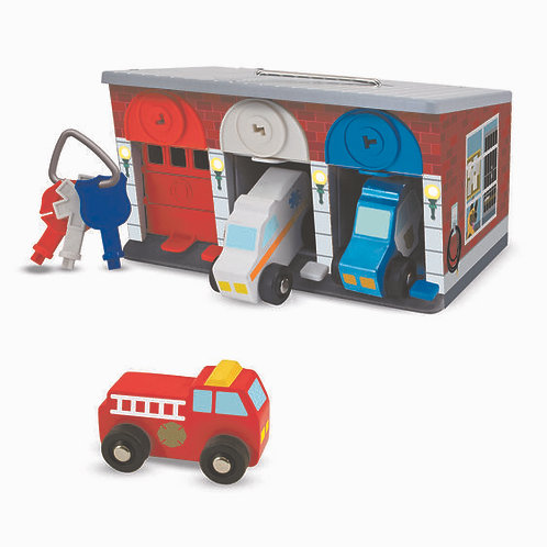 Garaje de Madera con Llaves y Vehículos de Rescate