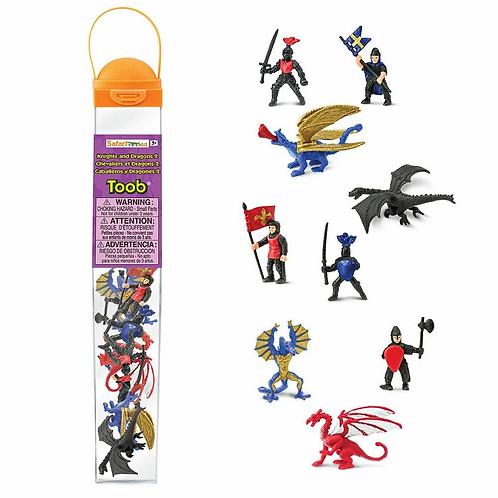 Set de figuras de dragones y caballeros