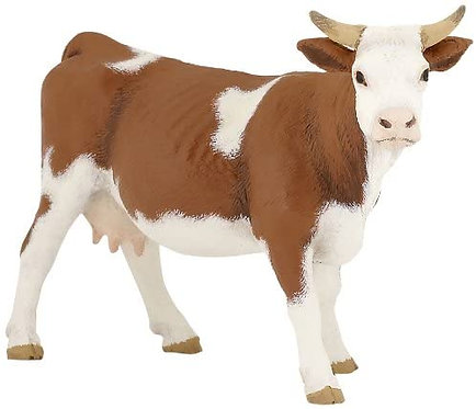 Figura Animales Vaca Simmental Pintada a Mano