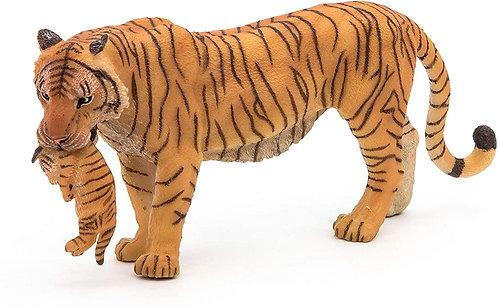 Figura Animales Tigre Con Cachorro Pintado a Mano