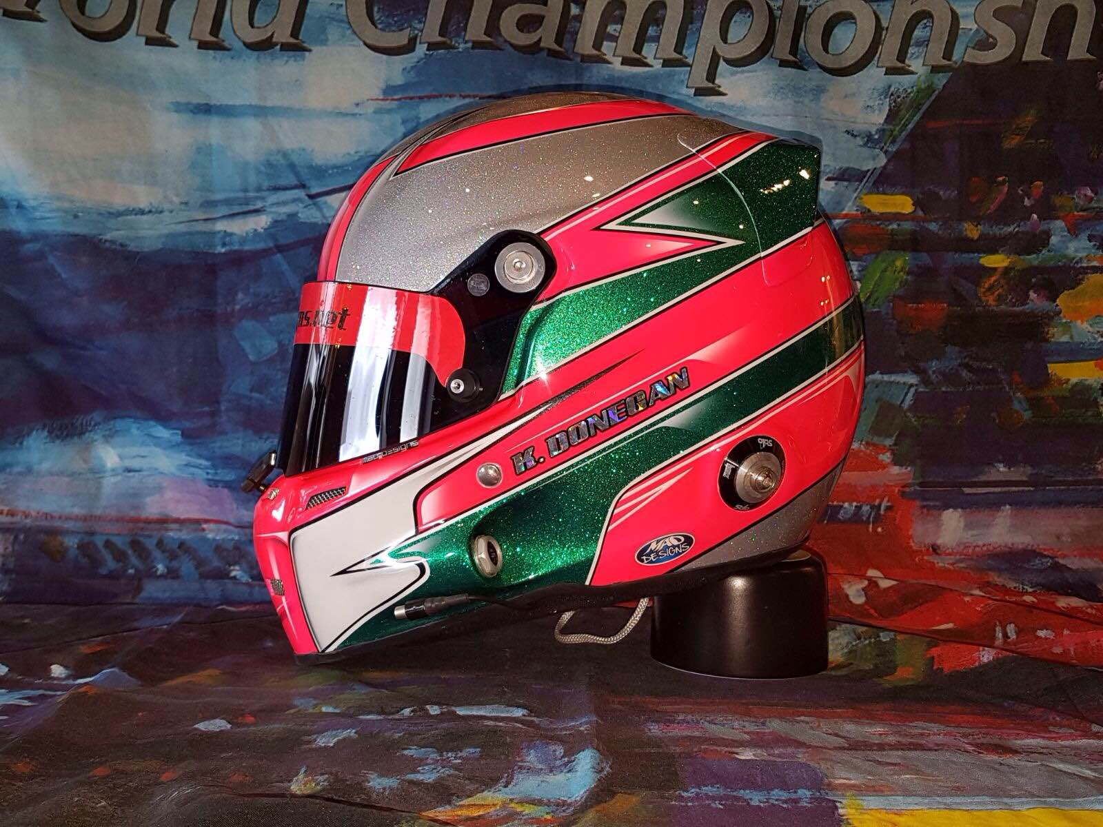 Pink & Green Custom Painted Helmet