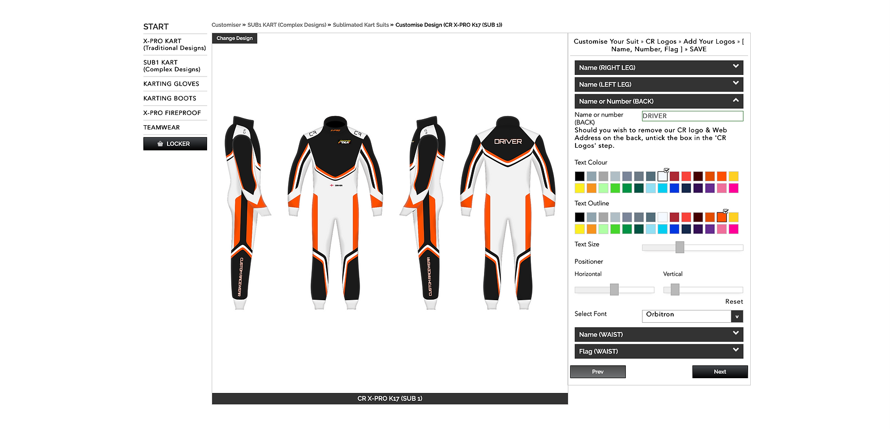 Custom Race Suit Configurator