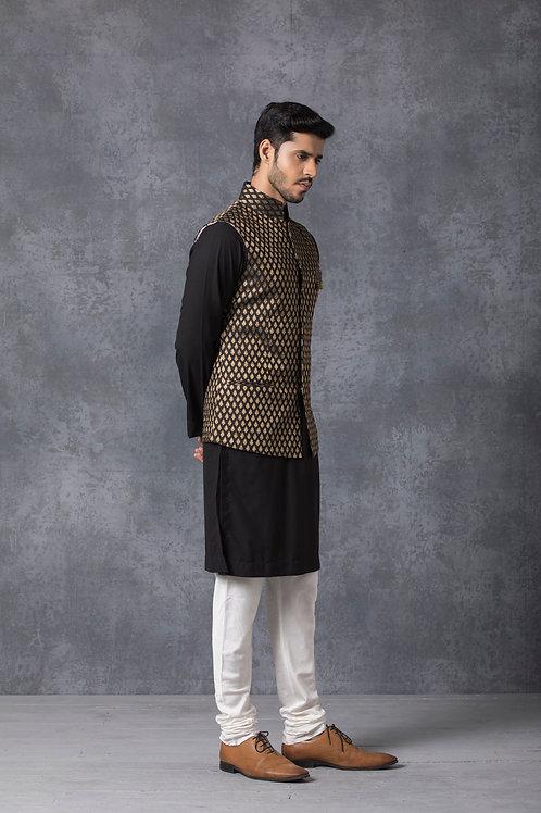 Black Brocade Silk Nehru Jacket