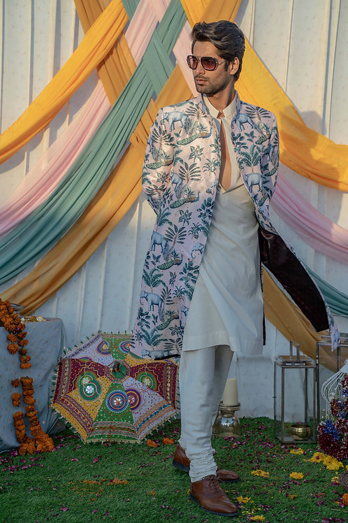 Pink Floral Printed Sherwani with Embroidery