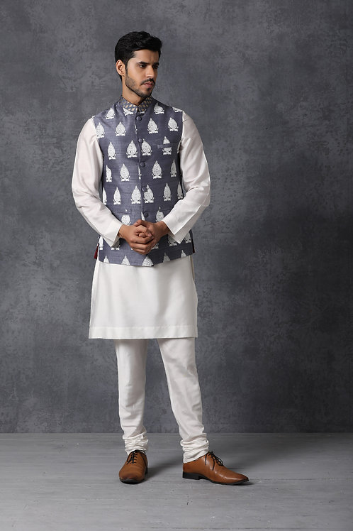 Stone Blue Raw Silk Nehru Jacket Set