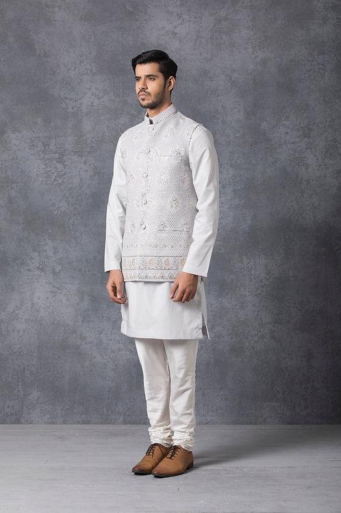 Ice Grey Tonal Lucknowi Nehru Jacket Set