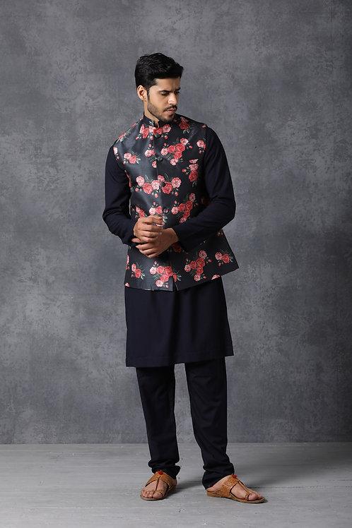 Navy Blue Floral Printed Nehru Jacket