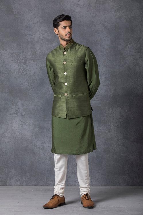 Military Green Raw Silk Nehru Jacket