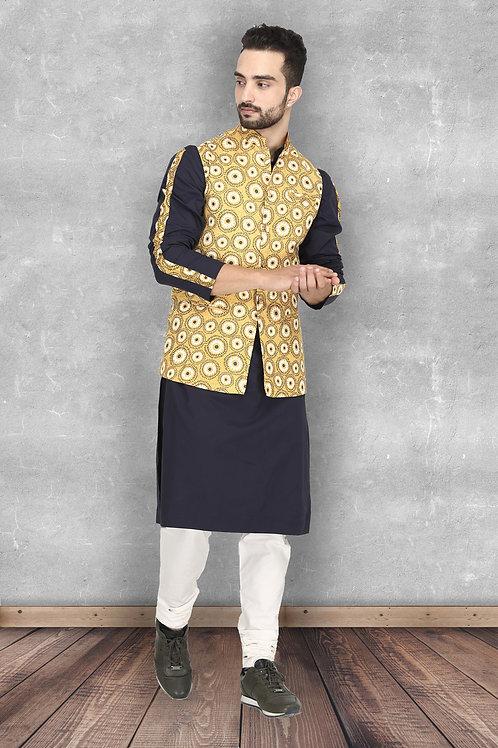 Sunset Mustard and Navy Printed Nehru Jacket Set