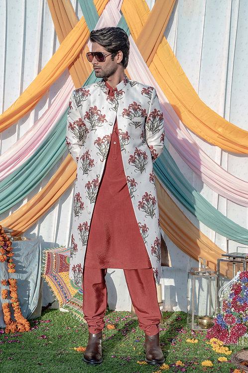 Beige Floral Printed Embroidered Sherwani