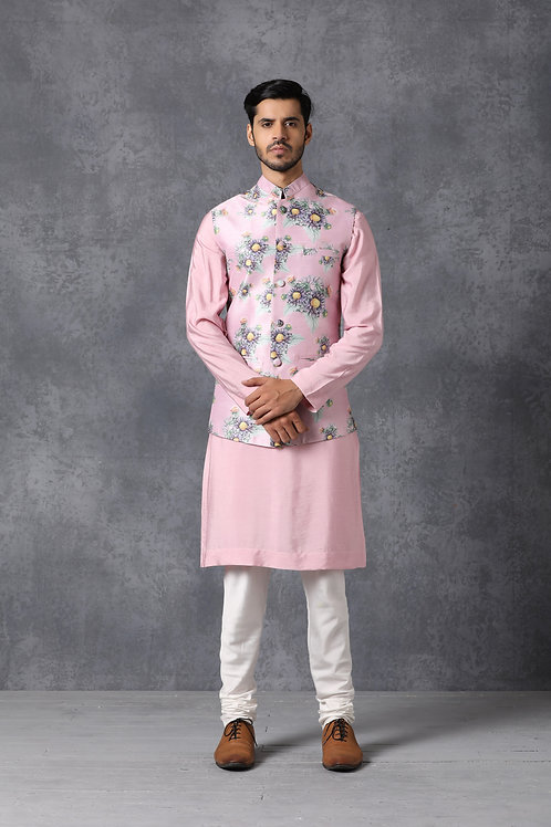 Pink Floral Nehru Jacket Set