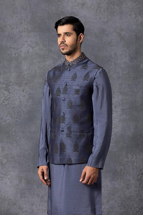 Stone Blue Raw Silk Nehru Jacket