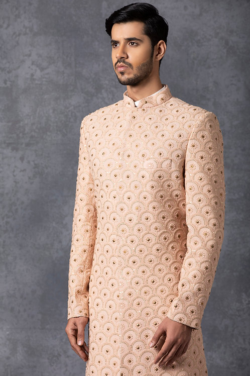 Dusty Rose Hand Embroidered Lucknowi Sherwani