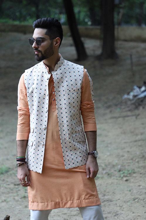 Geometric Peach Nehru Jacket Set