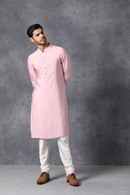 Classic Blush Pink Chanderi Cotton Kurta Set