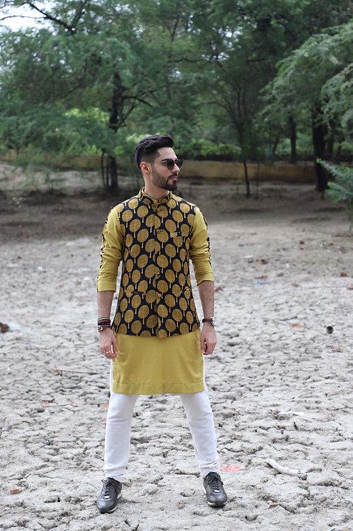 Deep Yellow and Black Printed Nehru Jacket Set
