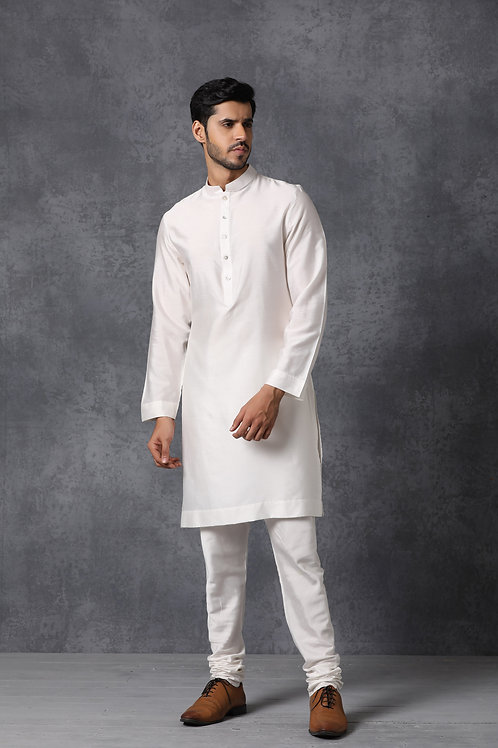 Classic Off White Chanderi Cotton Kurta Chooridaar