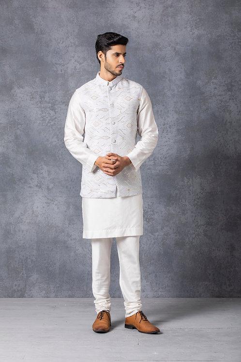 Ice Grey Lucknowi Nehru Jacket