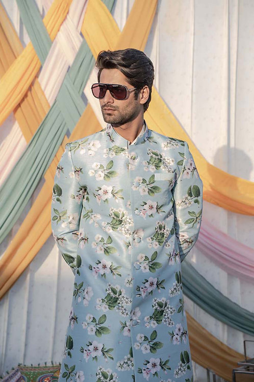 Powder Blue Floral Sherwani With Embroidery