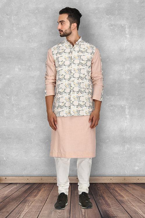 Forest Print Off White Nehru Jacket Set