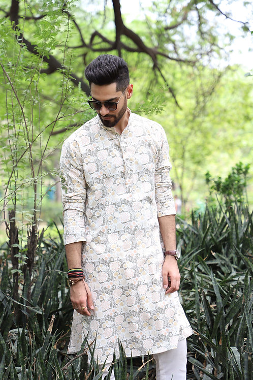 Forest Floral Printed Off White Kurta Set