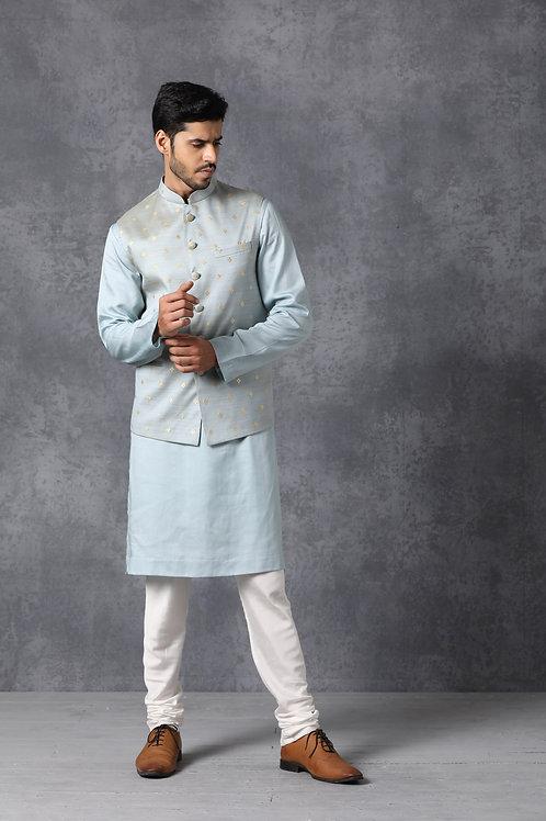 Blue Chanderi Silk Nehru Jacket