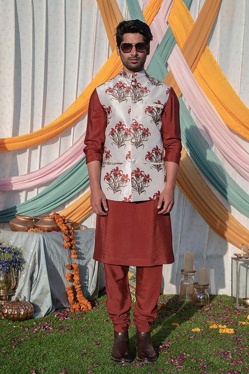 Beige Floral Printed Nehru Jacket