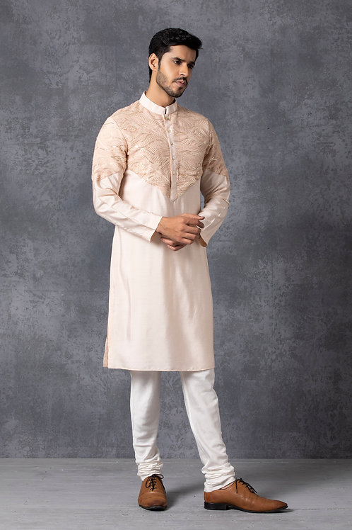 Contemporary Dusty Rose Lucknowi Kurta