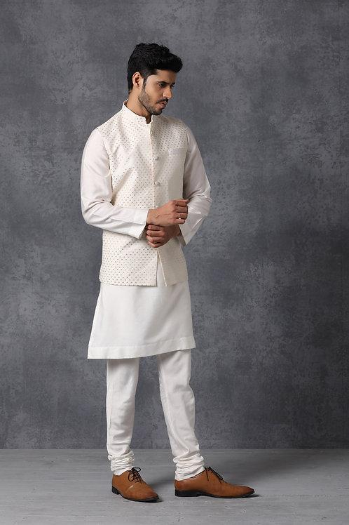 Off White Chanderi Silk Nehru Jacket