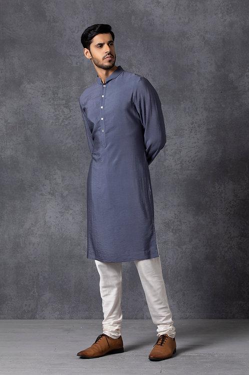 Chanderi Stone Blue Kurta Set