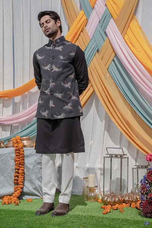 Black Bird Print Nehru Jacket