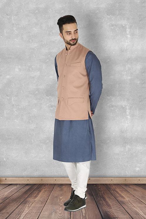 Dusty Rose Jaquard Nehru Jacket Set