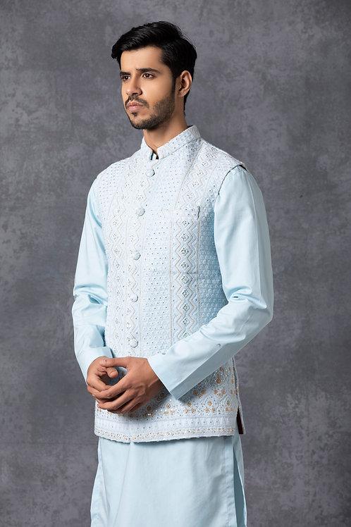 Powder Blue Lucknowi Nehru Jacket Set