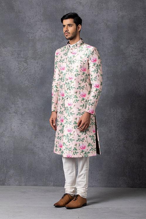 Blush Pink Floral Jaal Sherwani