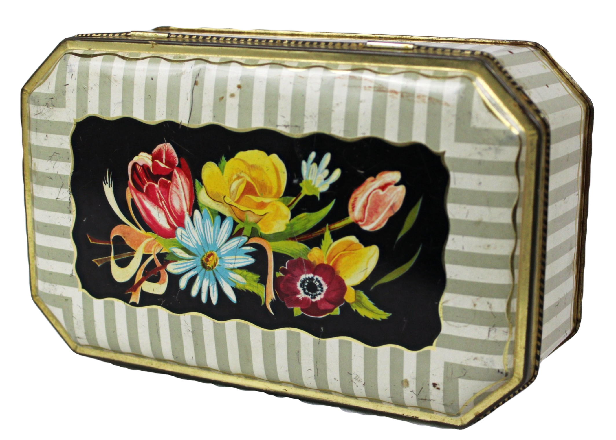 Striped Floral Tin