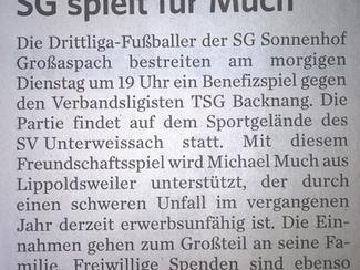 Vorbericht Benefizspiel Marbacher Zeitung