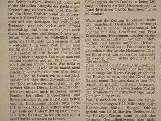 Mein Leserbrief als Danksagung in der Backnanger Kreiszeitung vom 25. Januar 2018