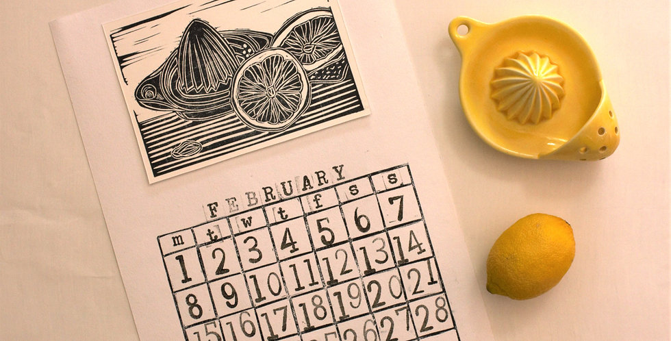 Hand printed lino cut calendar for 2021