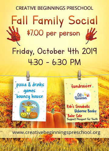 fall flyer, fall festival, fall family social, creative beginnings preschool arnold md