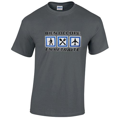 """T-shirt gris charbon """"EN RETRAITE"""""""