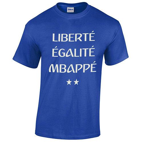 liberté, égalité, Mbappé tee shirt bleu