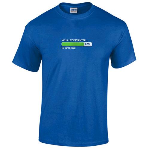 """T-shirt bleu """"VEUILLEZ PATIENTER ... """""""