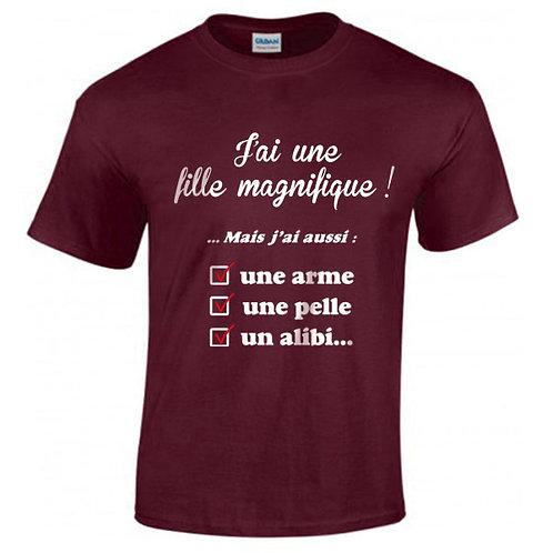 """T-shirt bordeaux """"J'AI UNE FILLE MAGNIFIQUE"""""""