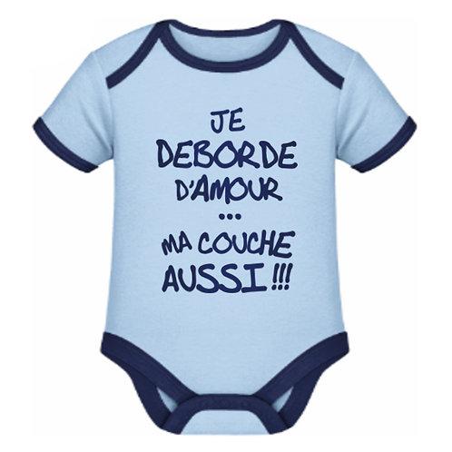 """Body bleu clair """"JE DEBORDE D'AMOUR"""""""