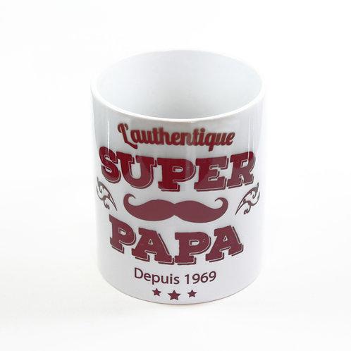 """Mug """"L'AUTHENTIQUE SUPER PAPA"""" à personnaliser"""