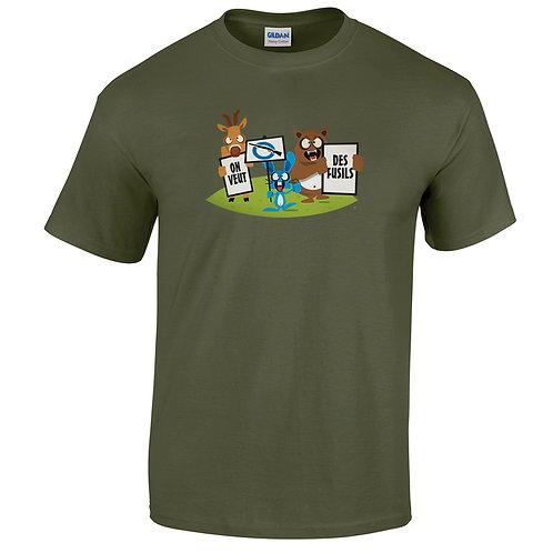 """T-shirt kaki """" ON VEUT DES FUSILS """""""
