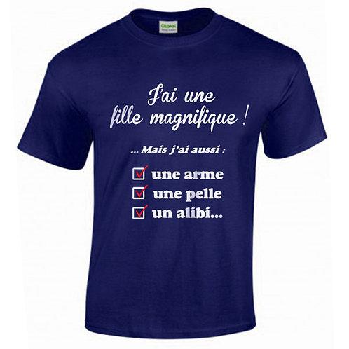 """T-shirt marine """"FILLE MAGNIFIQUE"""""""