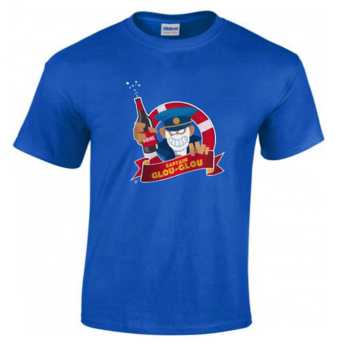 "T-shirt bleu roi ""CAPITAIN GLOU-GLOU"""